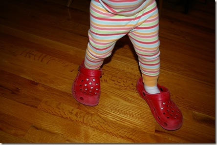 Reagan wearing grandma's shoes