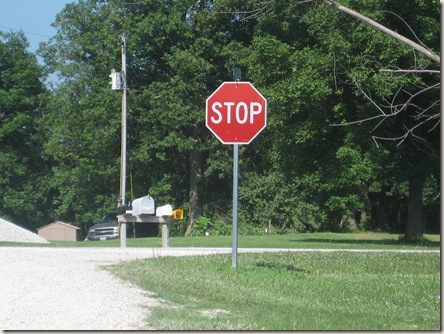 stop sign and mailbox