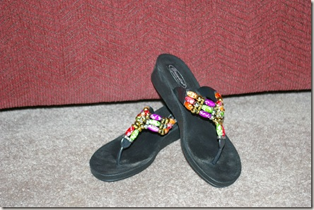 brightly colored beaded sandals