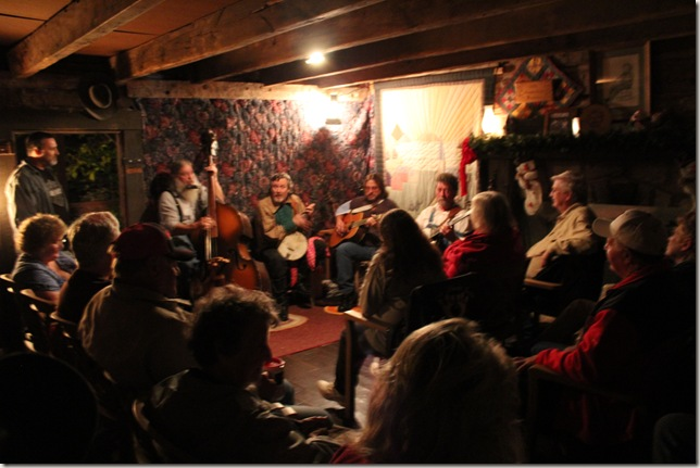 Jam session in log cabin