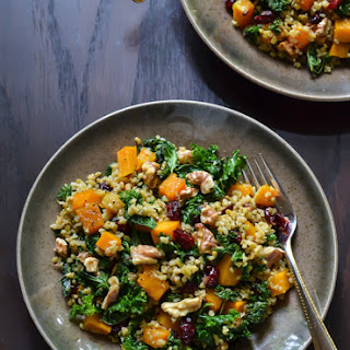 Maple Roasted Butternut Squash Freekeh Salad with Kale