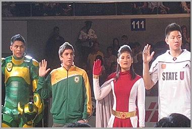FEU Men's Volleyball player Jhayr Labrador, and Basketball captain