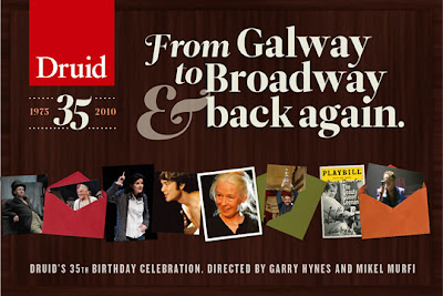 "Image showing various photos from Druid Theatre productions and the words ""From Galway to Broadway and back again: Druid's 35th birthday celebrations"""