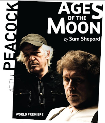 shot of programme flier for AGES OF THE MOON by Sam Shepard at the Peacock Theatre, Dublin. Photo shows two people looking at the camera - Sean McGinley and Stephen Rea.