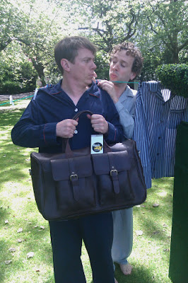 The Pajama Men in St Stephen's Green, Dublin, wearing, you guessed it, Pajamas.