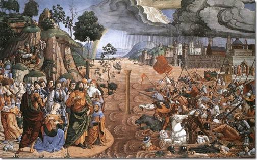 Travessia do Mar Vermelho, Cosimo Rosseli, (1439-1507)