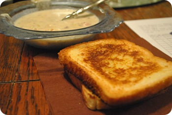 potato soup and grilled cheese sandwich