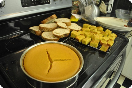 pumpkin cheesecake, whole grain bread, cornbread
