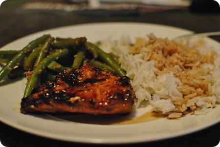 Asian-marinated chicken, ginger and soy green beans, basmati rice