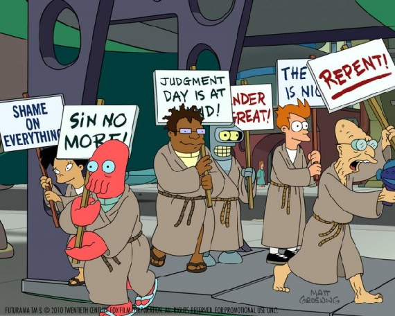 Futurama season six apocalyptic picket signs