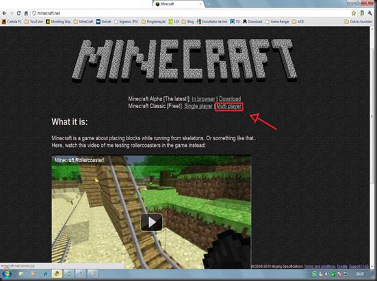 Minecrat página inicial - como jogar minecraft online