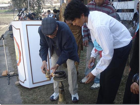 registar dr. bhadraman thuladhar inagurating sports week 2009