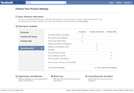 facebook simple control privacy settings