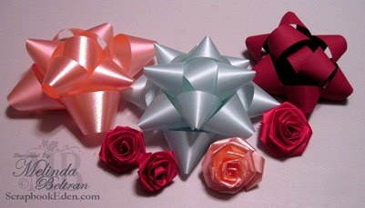 christmas bow making-ribbon rose samples