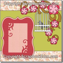 birdcage swirls flowers and frame -300wjl