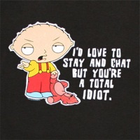 Family guy stewie chat total idiot black shirt