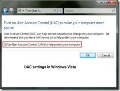 UAC settings in Vista