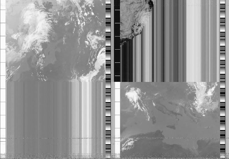 NOAA 17 southbound 42W at 10 Jul 2010 08:00:26 GMT on 137.62MHz, contrast enhancement, Normal projection, Channel A: 2 (near infrared), Channel B: 4 (thermal infrared)