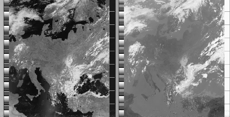NOAA 19 northbound 57E at 10 Jul 2010 11:25:14 GMT on 137.10MHz, contrast enhancement, Normal projection, Channel A: 2 (near infrared), Channel B: 4 (thermal infrared)