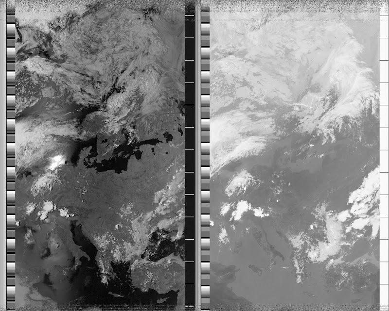 NOAA 15 northbound 66E at 10 Jul 2010 14:31:11 GMT on 137.50MHz, contrast enhancement, Normal projection, Channel A: 2 (near infrared), Channel B: 4 (thermal infrared)