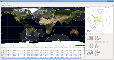 Satellite tooltips show basic information about a satellite in the polar view