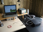 One MacBook Pro (2.4 GHz) and one USRP running the full duplex video transceiver