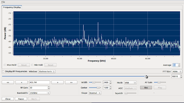 GQRX - the GNU Radio receiver with Qt GUI receiving the linear transponder downlink of HO-68 satellite.