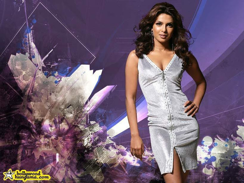 Priyanka Chopra Wallpaper Mix Pix. In which outfit does she look good? - denim shorts, long gown, pink mini, fashion fur, silver dress or the at-home look?