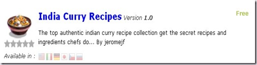 India curry recipes  app andorid market iphone market