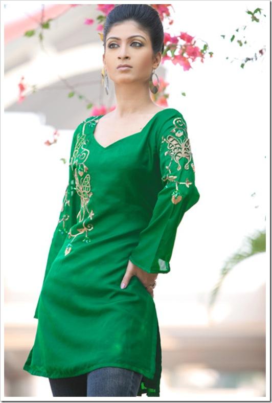 Green Embroiderd Kurti