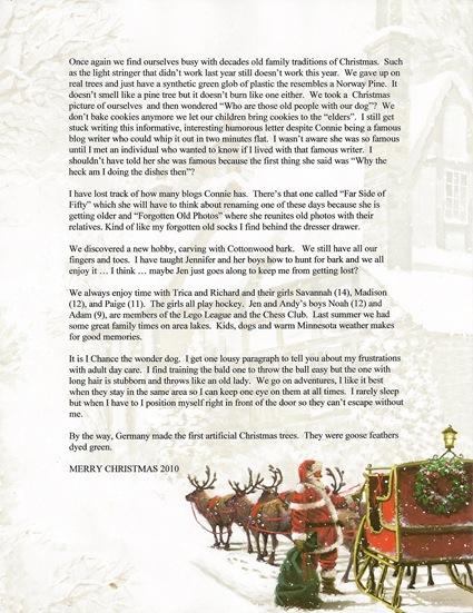 Christmas Letter 2010