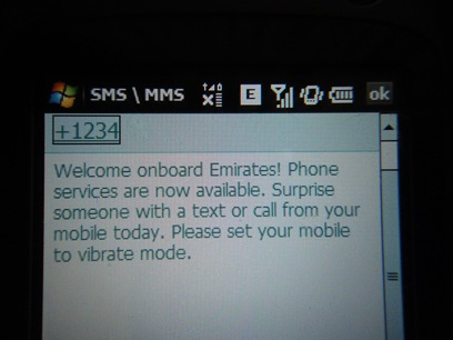 Using my cell phone while travelling 30,000 feet up in the air with Emirates