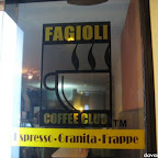 Fagioli Coffee Club's entrance glass windows