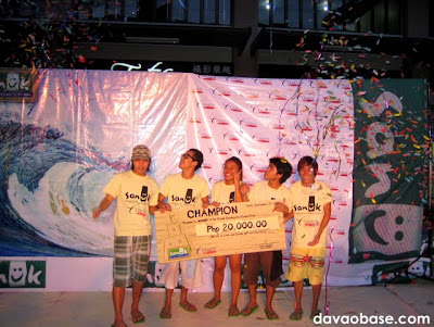 Champions of the Sanuk Sandcastle Competition in Davao City