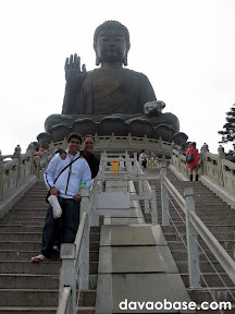 Hubby and Wifey at the base of the Giant Buddha in Ngong Ping, Hong Kong