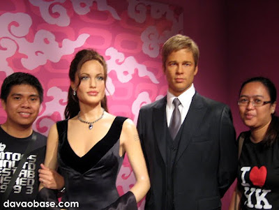 Angelina Jolie and Brad Pitt at Madame Tussauds in The Peak, Hong Kong
