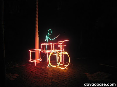 A drummer made from a series of lights, found in Tagum City