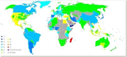 Edad de consentimiento en distintas partes del mundo.