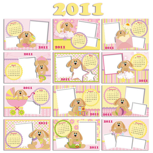 Календарь на 2011 год с рамками для малышей
