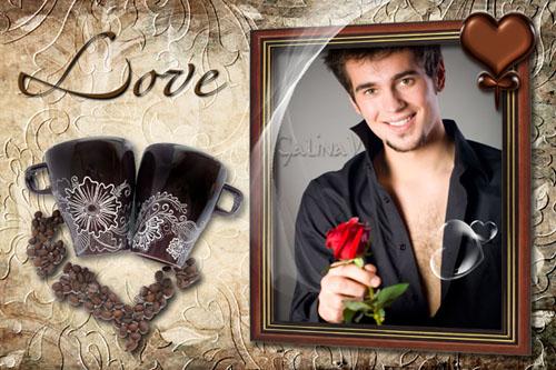 Romantik Çerçeve-Kahve Kupa ile Tarihi Psd