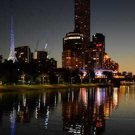 Shivering in water by Nimit Rastogi - City,  Street & Park  Skylines ( eurekaskydeck, yarra river, skydeck, melbourne, australia, cityscape )