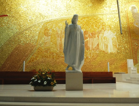 imagem de nossa senhora de fatima esculpida em marmore