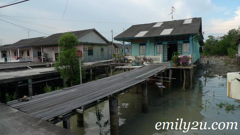wooden houses on stilts