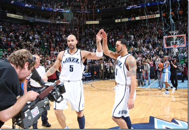 March 6 2009 - Deron and Booz celebrate [Melissa Majchrzak for NBAE Getty Images]