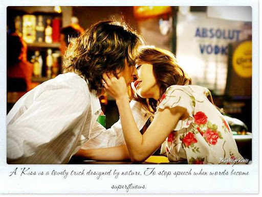 A Kiss is a lovely trick designed by nature, To stop speech when words become....