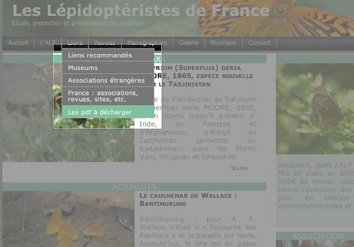 """5. Dans le même menu déroulant """"liens"""", on peut aussi opter pour le sous-menu """"pdf à décharger"""" ..."""