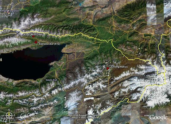 Carte : localisation de la Chon Ashuu Pass dans le Terskej Alatau (Tian Shan)