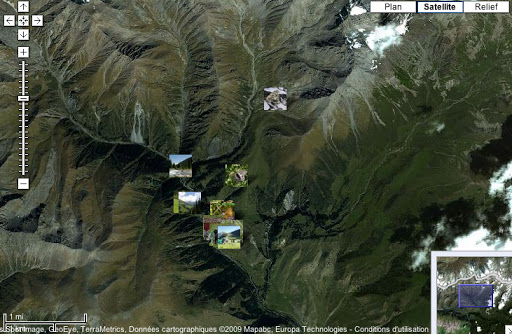 Localisation des photos dans la vallée de Kyzyl Aksuu, Kungej Alatau.