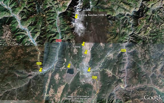 Localisation des photos au Nord de Lijiang