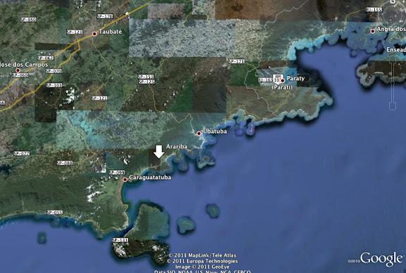 Localisation d'Arariba entre Paraty (RJ) et Caraguatuba (SP)